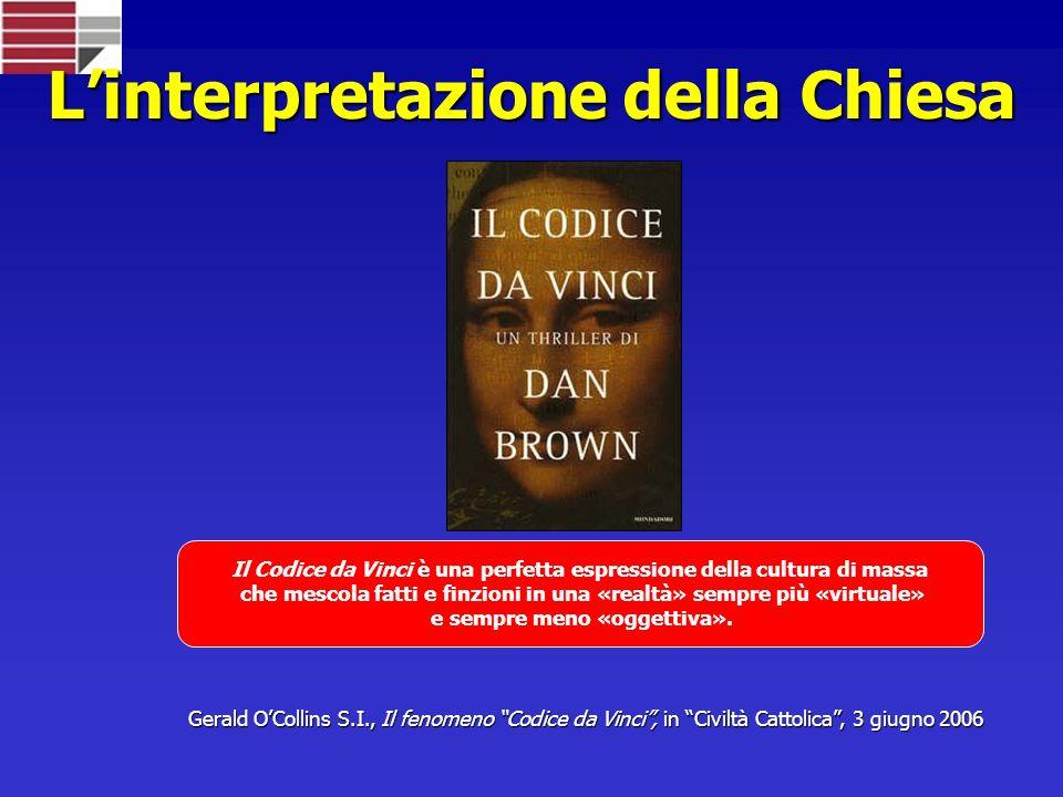 Linterpretazione della Chiesa Il Codice da Vinci è una perfetta espressione della cultura di massa che mescola fatti e finzioni in una «realtà» sempre più «virtuale» e sempre meno «oggettiva».
