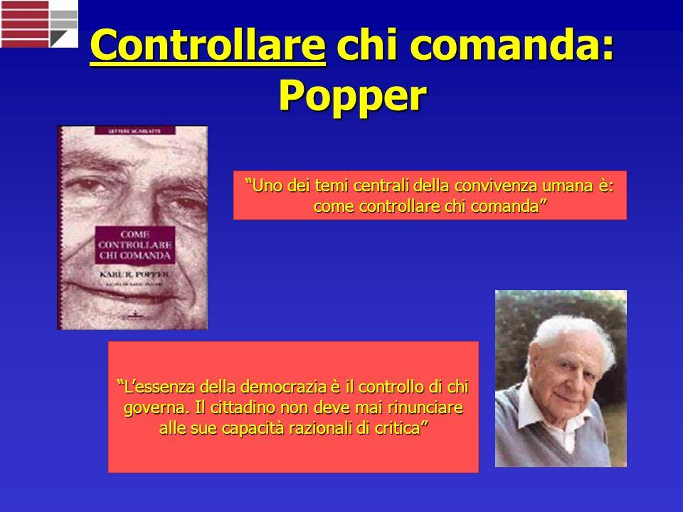 Controllare chi comanda: Popper Uno dei temi centrali della convivenza umana è: come controllare chi comanda Lessenza della democrazia è il controllo di chi governa.