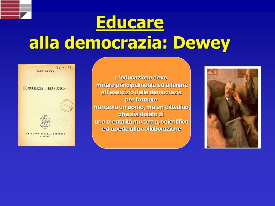 Educare alla democrazia: Dewey Leducazione deve mirare principalmente ad allenare mirare principalmente ad allenare allesercizio della democrazia allesercizio della democrazia per formare non solo un uomo, ma un cittadino, non solo un uomo, ma un cittadino, che sia dotato di una mentalità moderna, scientifica ed aperta alla collaborazione ed aperta alla collaborazione