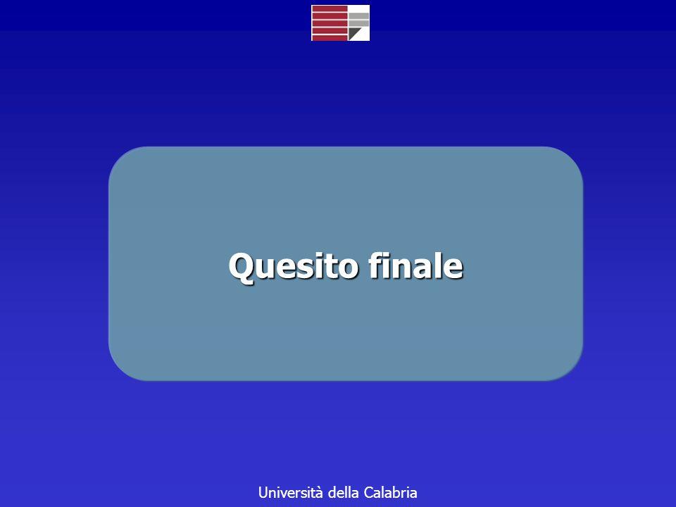 Università della Calabria Quesito finale