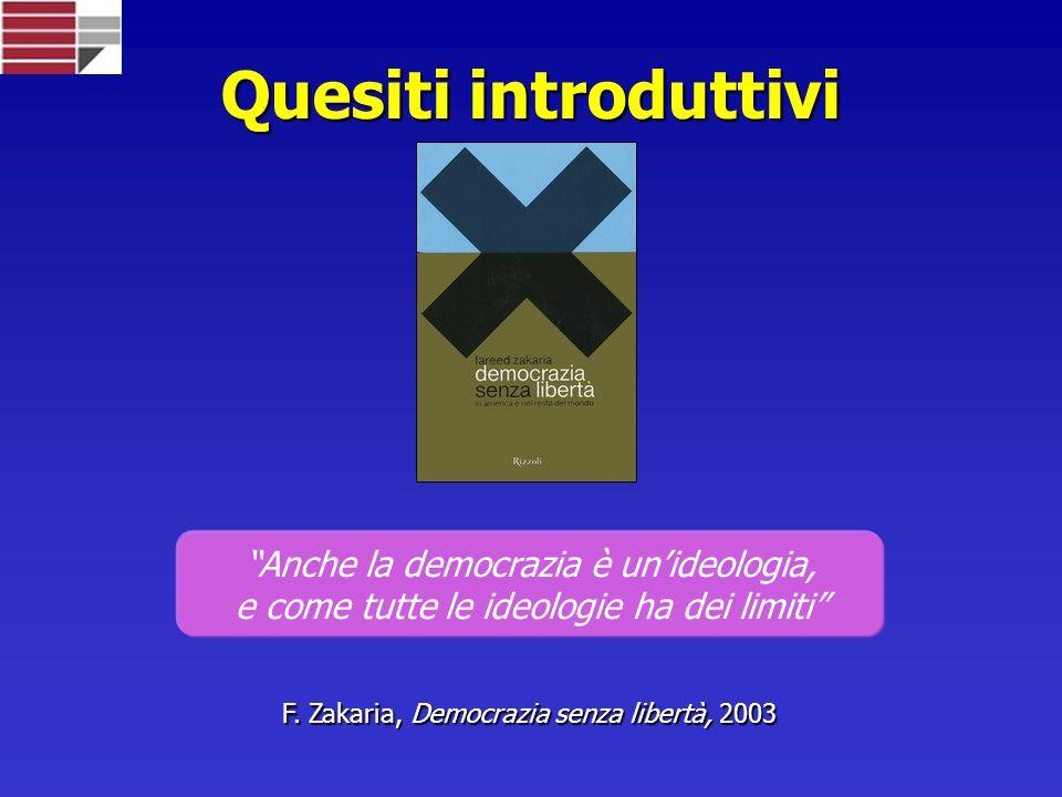 Quesiti introduttivi Anche la democrazia è unideologia, e come tutte le ideologie ha dei limiti F.