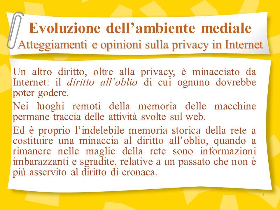 Un altro diritto, oltre alla privacy, è minacciato da Internet: il diritto alloblio di cui ognuno dovrebbe poter godere. Nei luoghi remoti della memor