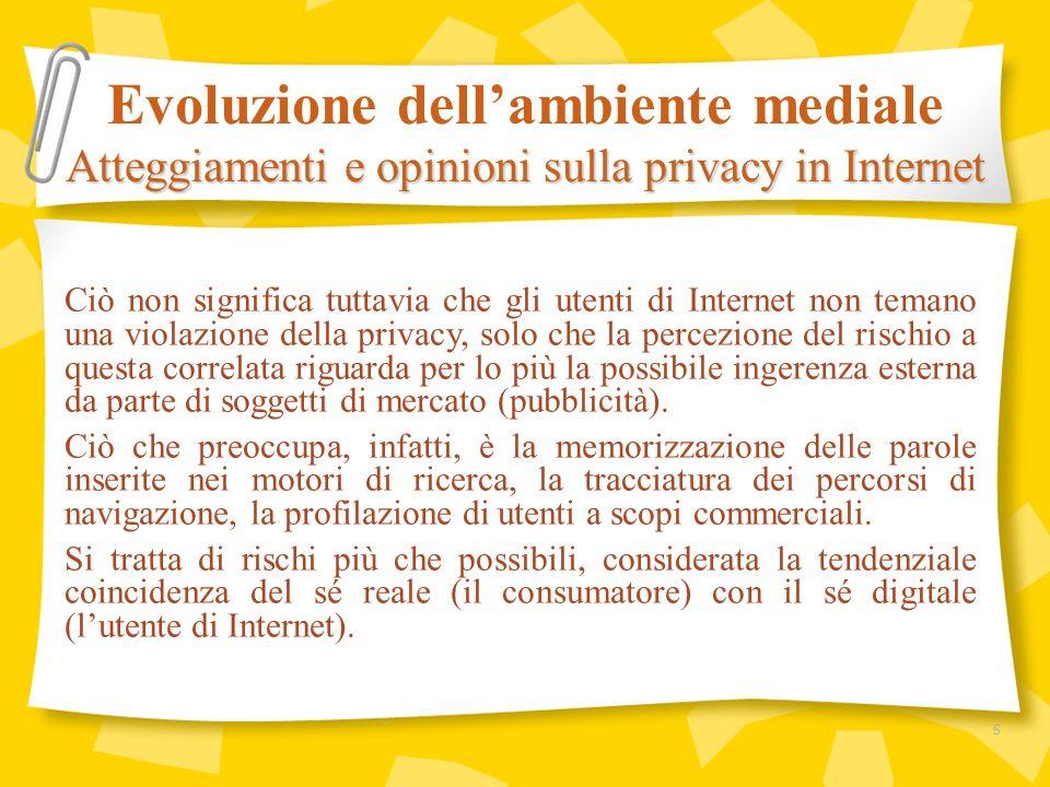 Ciò non significa tuttavia che gli utenti di Internet non temano una violazione della privacy, solo che la percezione del rischio a questa correlata r