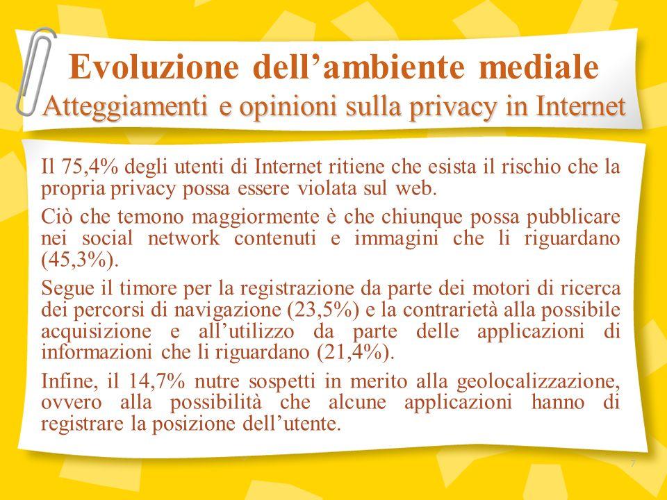 Le opinioni degli utenti sulla privacy in Internet sono strettamente correlate agli atteggiamenti sopra menzionati, tanto che la maggioranza di loro ritiene necessaria lintroduzione di norme di tutela più severe.
