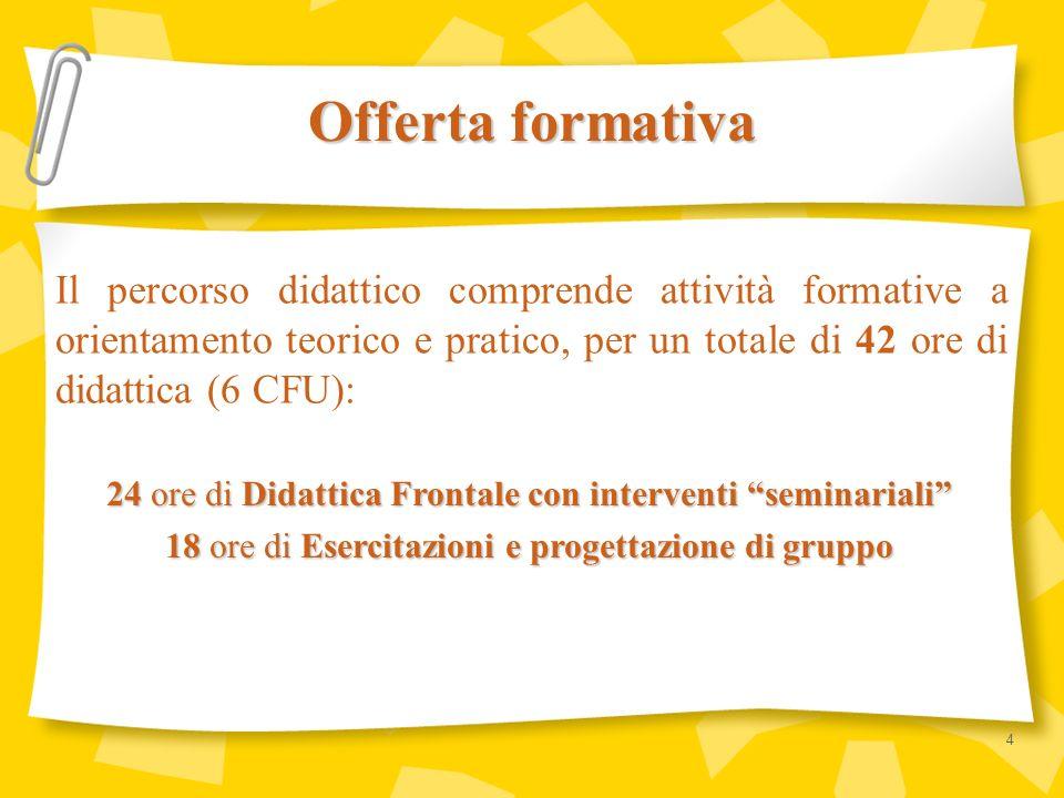 Il percorso didattico comprende attività formative a orientamento teorico e pratico, per un totale di 42 ore di didattica (6 CFU): Offerta formativa 2