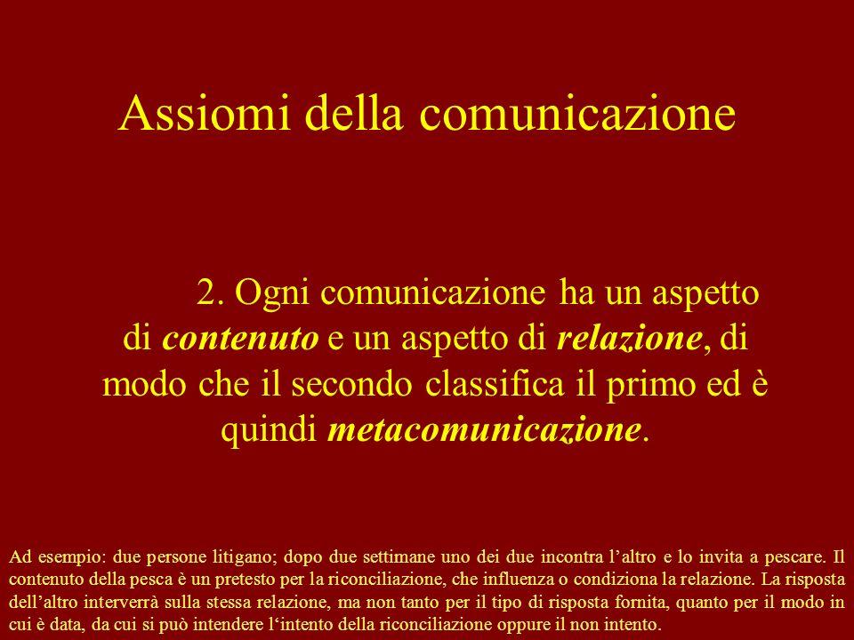 Assiomi della comunicazione 2. Ogni comunicazione ha un aspetto di contenuto e un aspetto di relazione, di modo che il secondo classifica il primo ed
