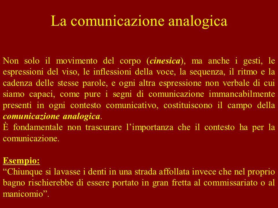 La comunicazione analogica Non solo il movimento del corpo (cinesica), ma anche i gesti, le espressioni del viso, le inflessioni della voce, la sequen