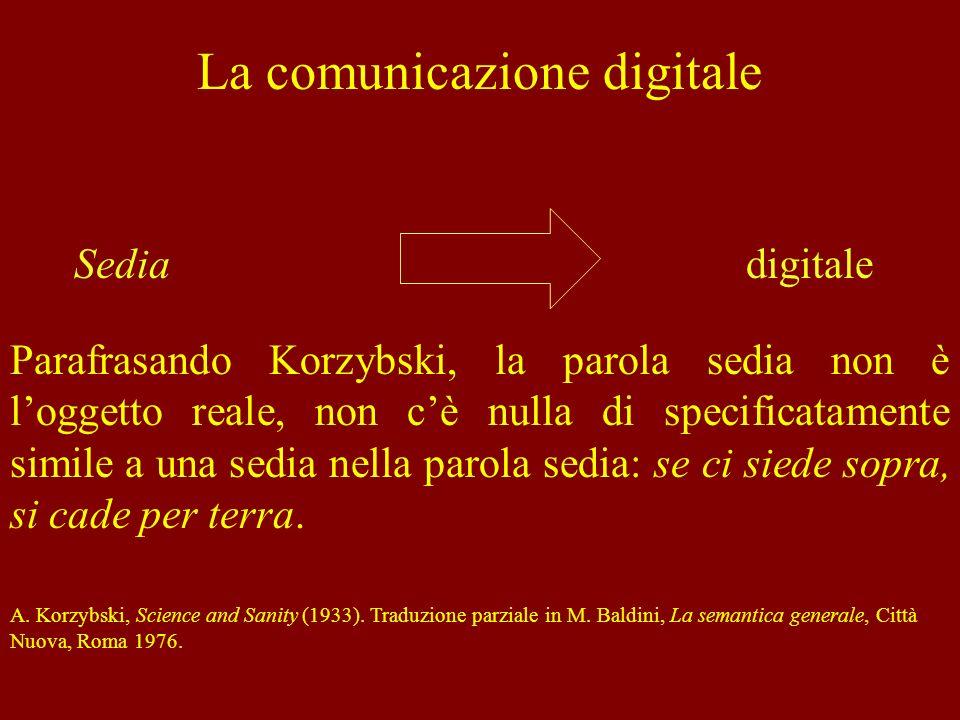 La comunicazione digitale Parafrasando Korzybski, la parola sedia non è loggetto reale, non cè nulla di specificatamente simile a una sedia nella paro
