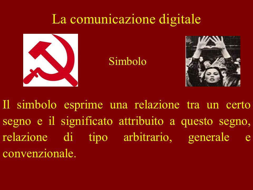 La comunicazione digitale Il simbolo esprime una relazione tra un certo segno e il significato attribuito a questo segno, relazione di tipo arbitrario