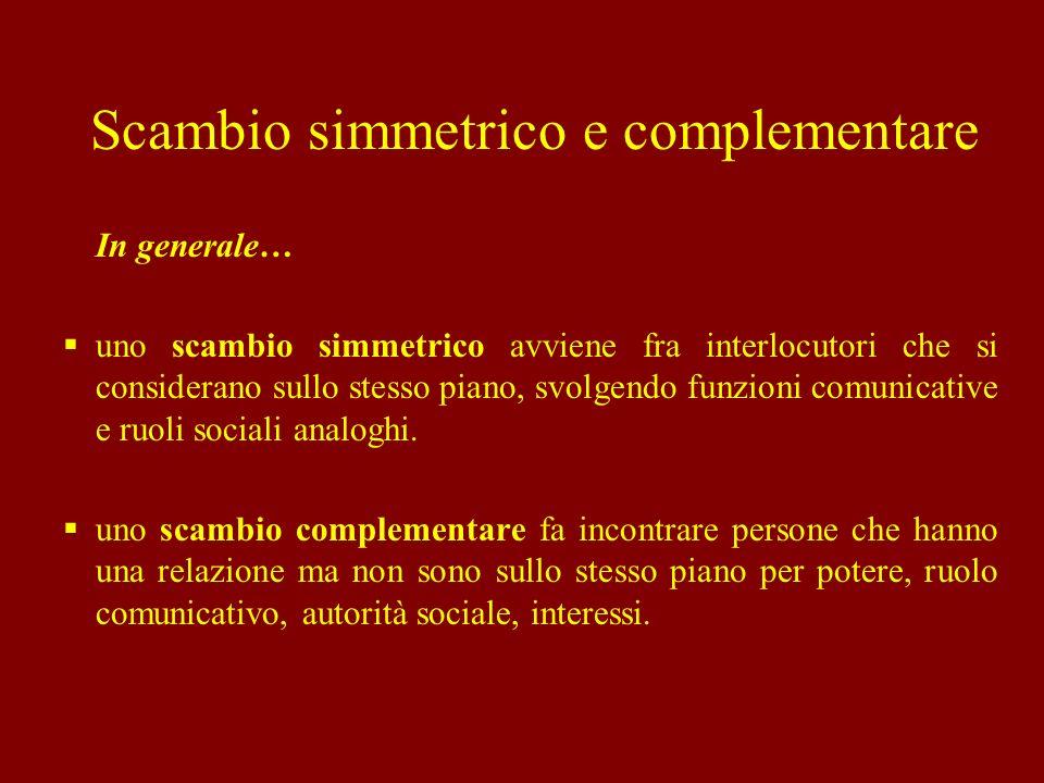 In generale… uno scambio simmetrico avviene fra interlocutori che si considerano sullo stesso piano, svolgendo funzioni comunicative e ruoli sociali a