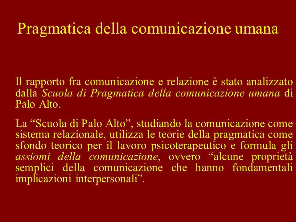 Pragmatica della comunicazione umana Il rapporto fra comunicazione e relazione è stato analizzato dalla Scuola di Pragmatica della comunicazione umana