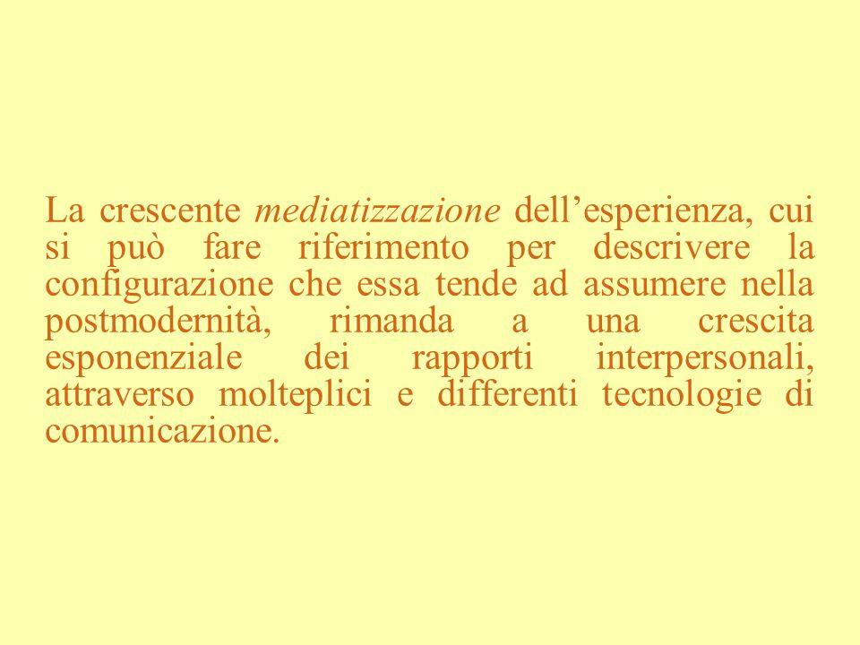 La crescente mediatizzazione dellesperienza, cui si può fare riferimento per descrivere la configurazione che essa tende ad assumere nella postmoderni