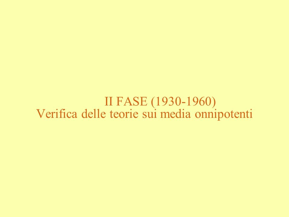 II FASE (1930-1960) Verifica delle teorie sui media onnipotenti