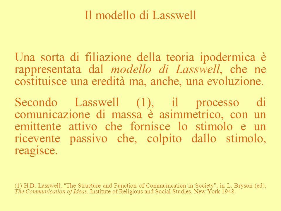 Il modello di Lasswell Una sorta di filiazione della teoria ipodermica è rappresentata dal modello di Lasswell, che ne costituisce una eredità ma, anc