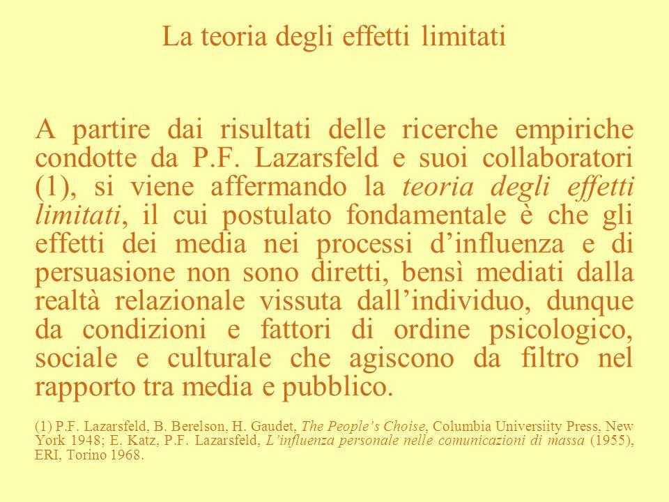 La teoria degli effetti limitati A partire dai risultati delle ricerche empiriche condotte da P.F. Lazarsfeld e suoi collaboratori (1), si viene affer