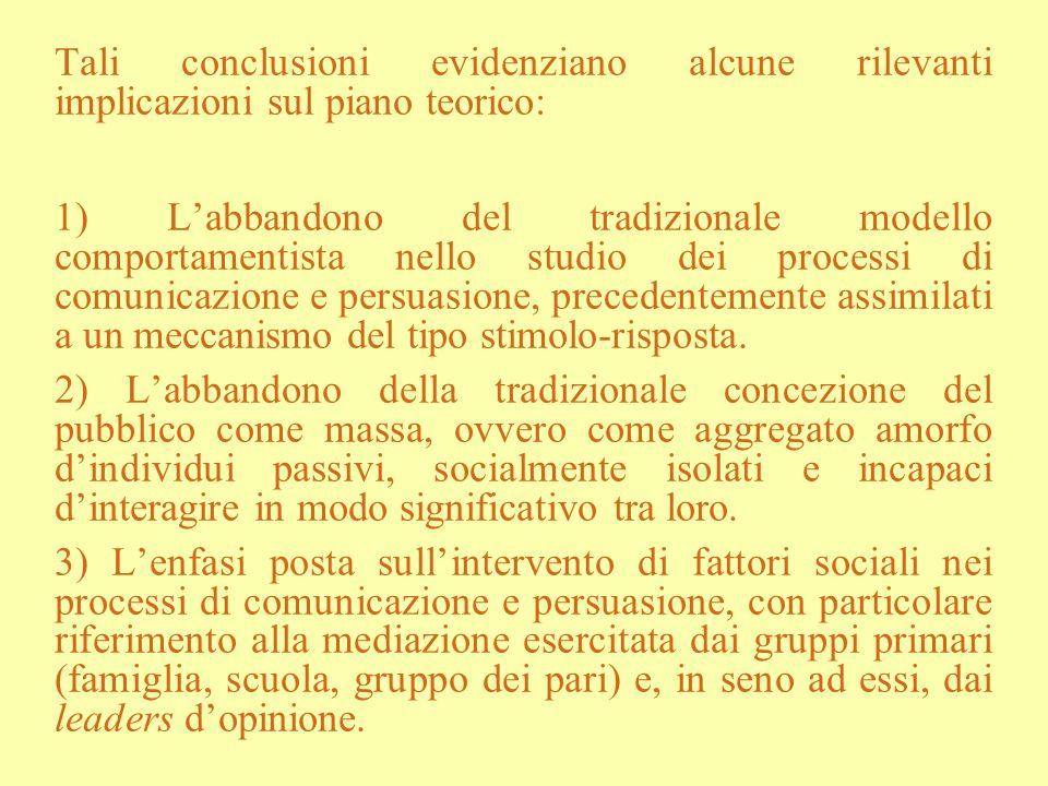 Tali conclusioni evidenziano alcune rilevanti implicazioni sul piano teorico: 1) Labbandono del tradizionale modello comportamentista nello studio dei