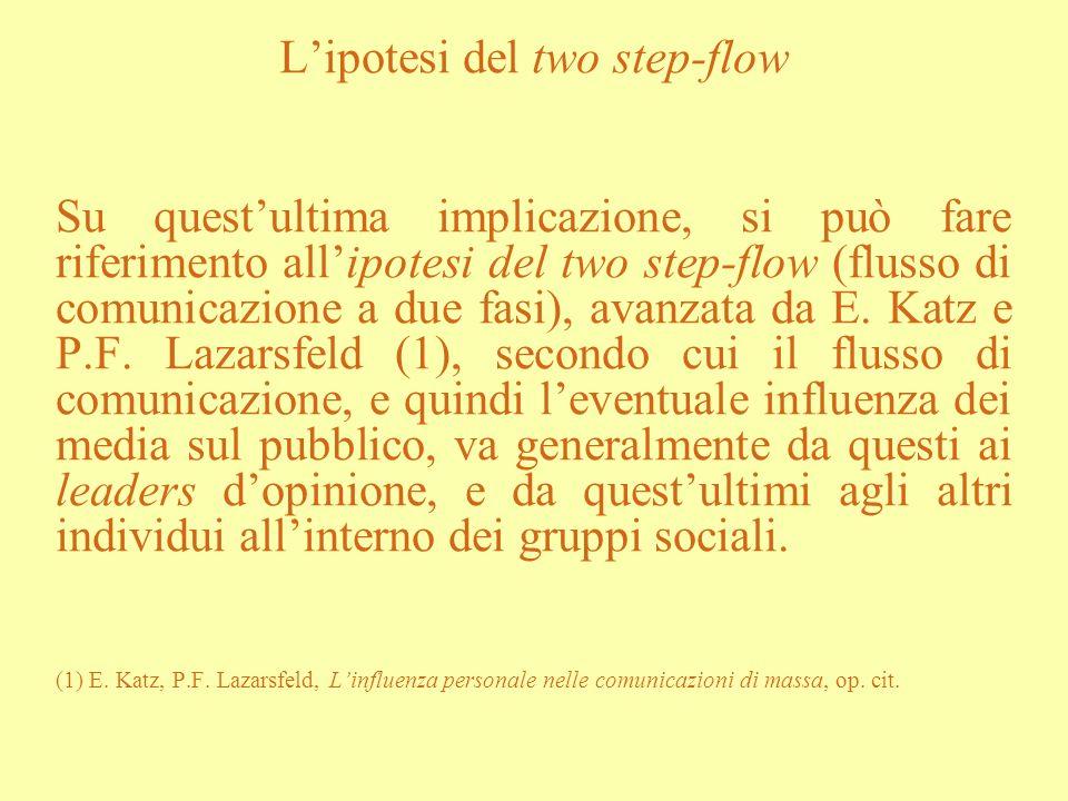 Lipotesi del two step-flow Su questultima implicazione, si può fare riferimento allipotesi del two step-flow (flusso di comunicazione a due fasi), ava