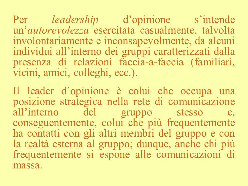 Per leadership dopinione sintende unautorevolezza esercitata casualmente, talvolta involontariamente e inconsapevolmente, da alcuni individui allinter