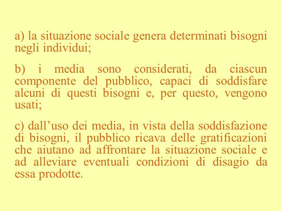 a) la situazione sociale genera determinati bisogni negli individui; b) i media sono considerati, da ciascun componente del pubblico, capaci di soddis