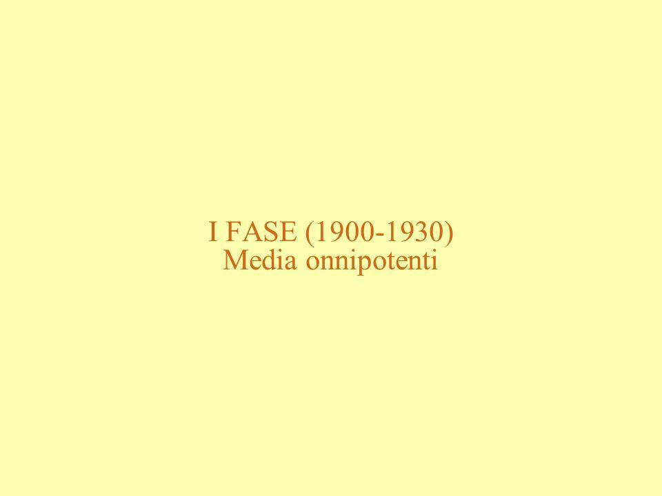 I FASE (1900-1930) Media onnipotenti