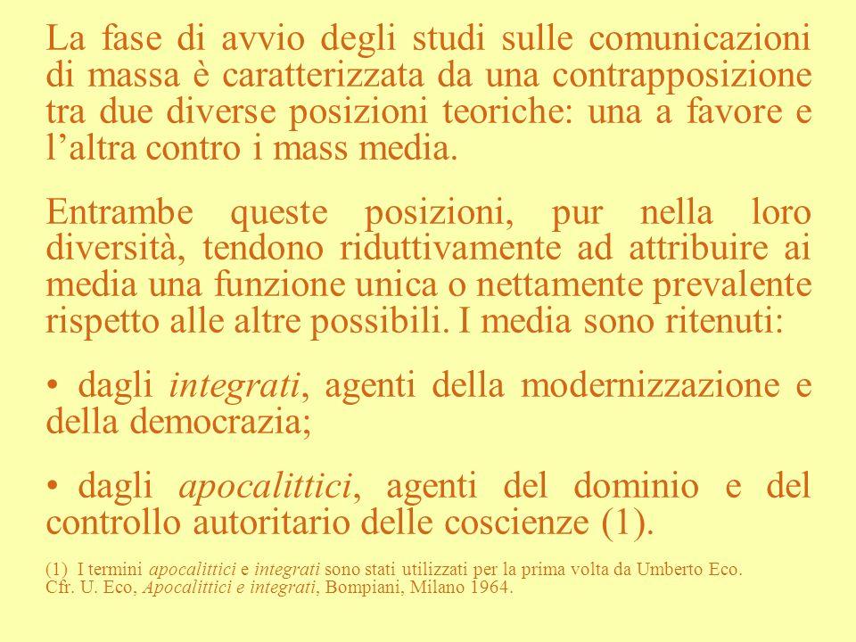 La teoria dellagenda setting Su tali considerazioni prende forma la teoria dellagenda setting (1) che si riferisce a un ambito specifico delle comunicazioni di massa: quello dellinformazione giornalistica.