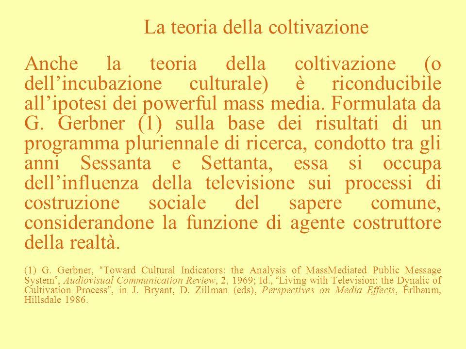 La teoria della coltivazione Anche la teoria della coltivazione (o dellincubazione culturale) è riconducibile allipotesi dei powerful mass media. Form