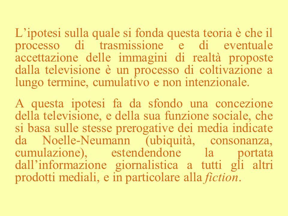 Lipotesi sulla quale si fonda questa teoria è che il processo di trasmissione e di eventuale accettazione delle immagini di realtà proposte dalla tele