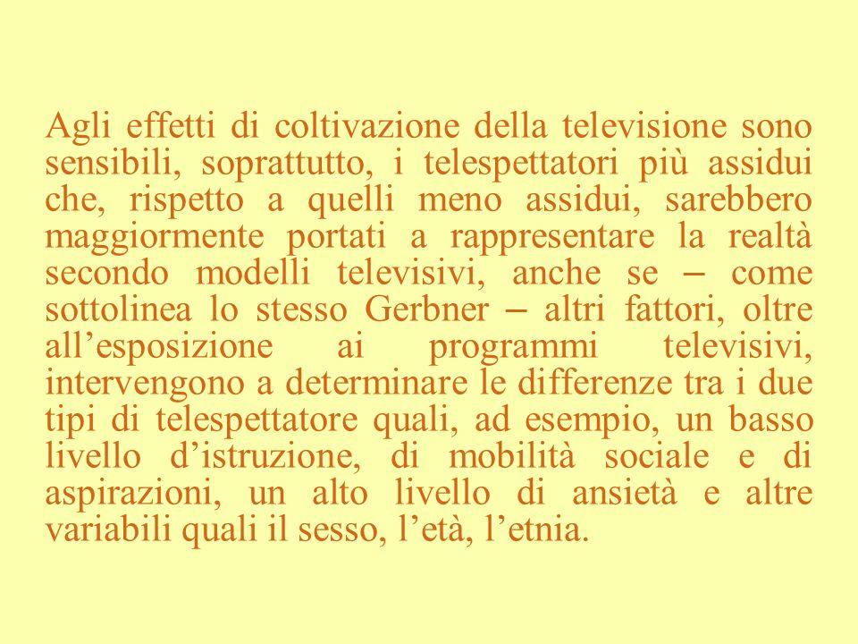 Agli effetti di coltivazione della televisione sono sensibili, soprattutto, i telespettatori più assidui che, rispetto a quelli meno assidui, sarebber