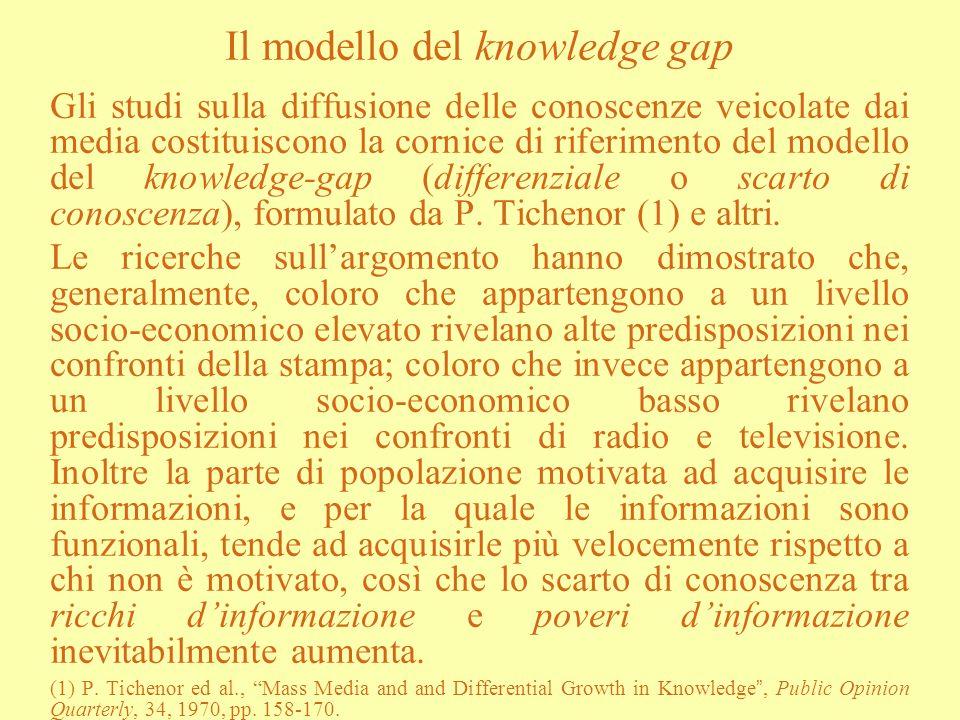 Il modello del knowledge gap Gli studi sulla diffusione delle conoscenze veicolate dai media costituiscono la cornice di riferimento del modello del k