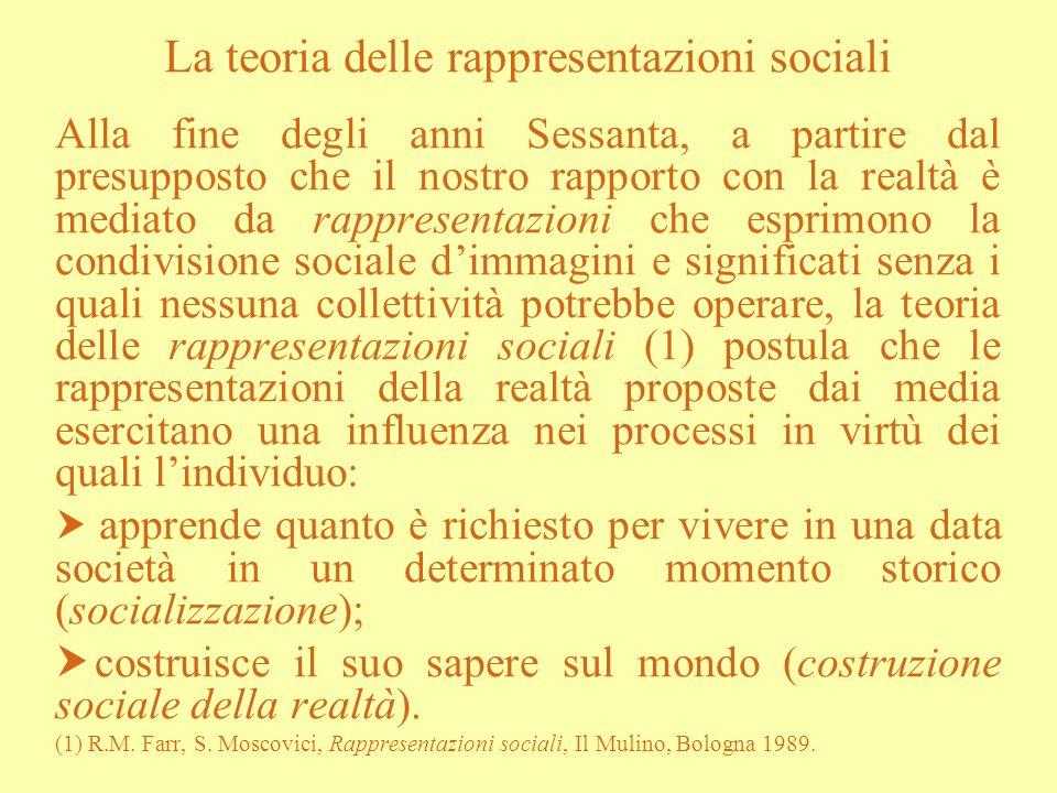 La teoria delle rappresentazioni sociali Alla fine degli anni Sessanta, a partire dal presupposto che il nostro rapporto con la realtà è mediato da ra