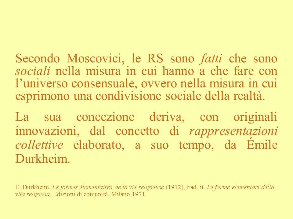 Secondo Moscovici, le RS sono fatti che sono sociali nella misura in cui hanno a che fare con luniverso consensuale, ovvero nella misura in cui esprim