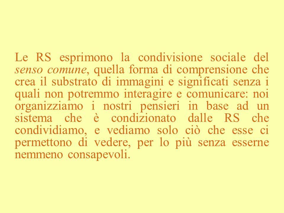 Le RS esprimono la condivisione sociale del senso comune, quella forma di comprensione che crea il substrato di immagini e significati senza i quali n