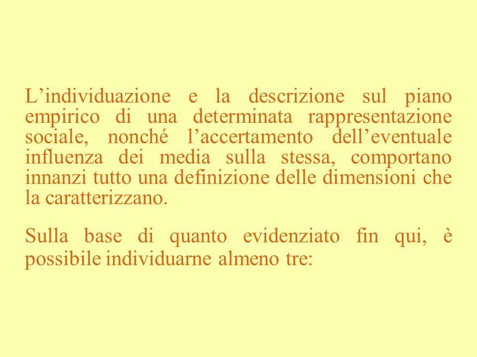 Lindividuazione e la descrizione sul piano empirico di una determinata rappresentazione sociale, nonché laccertamento delleventuale influenza dei medi