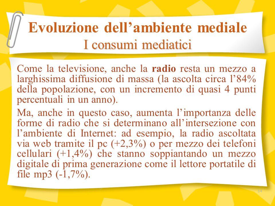 Come la televisione, anche la radio resta un mezzo a larghissima diffusione di massa (la ascolta circa l84% della popolazione, con un incremento di qu