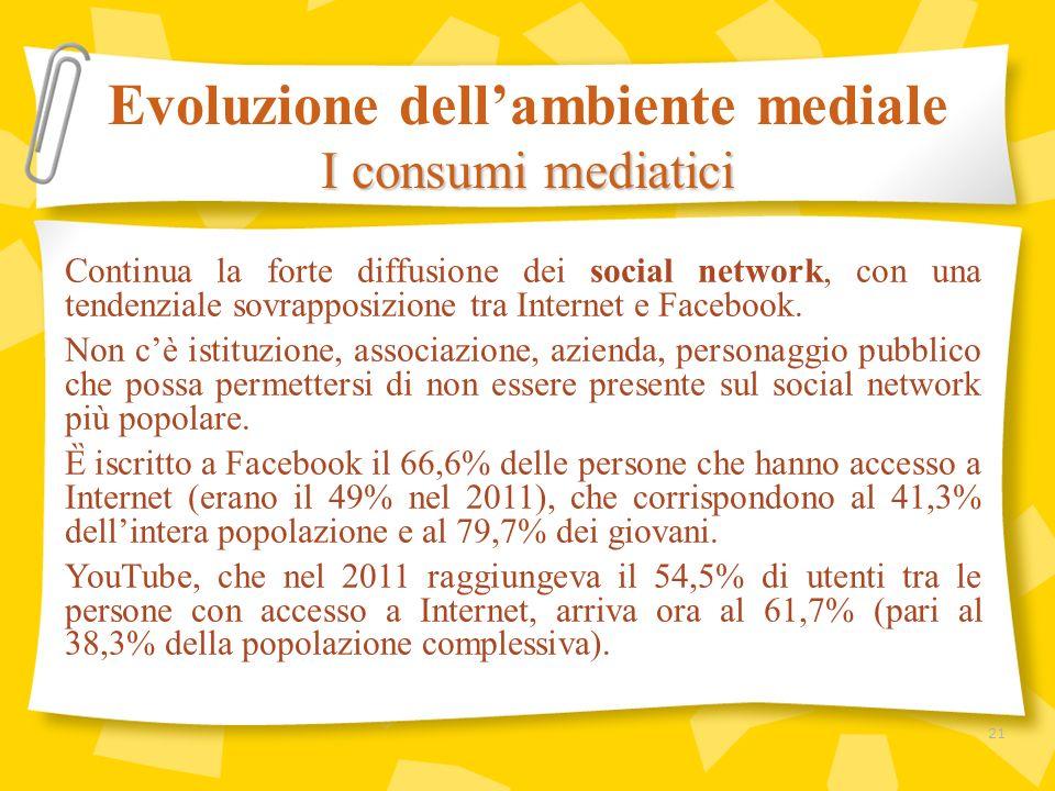 Continua la forte diffusione dei social network, con una tendenziale sovrapposizione tra Internet e Facebook. Non cè istituzione, associazione, aziend