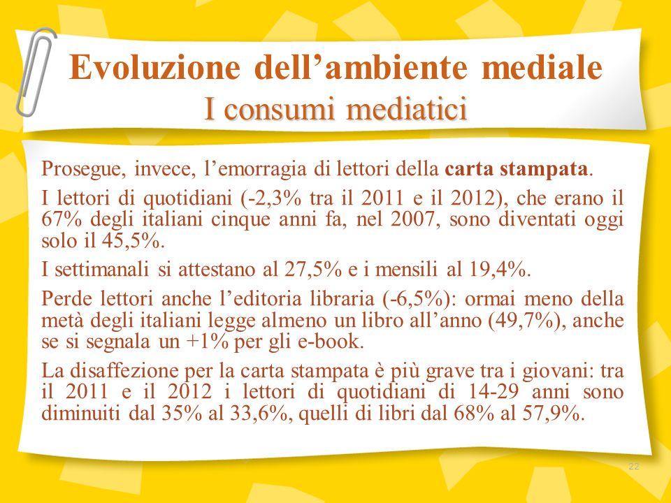 Prosegue, invece, lemorragia di lettori della carta stampata. I lettori di quotidiani (-2,3% tra il 2011 e il 2012), che erano il 67% degli italiani c