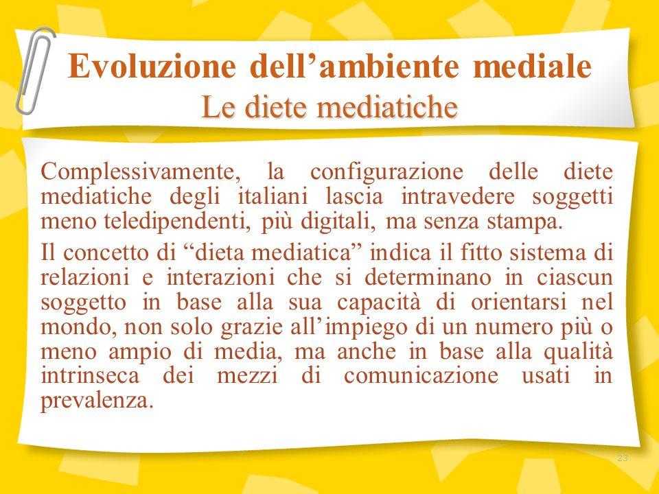 Complessivamente, la configurazione delle diete mediatiche degli italiani lascia intravedere soggetti meno teledipendenti, più digitali, ma senza stam