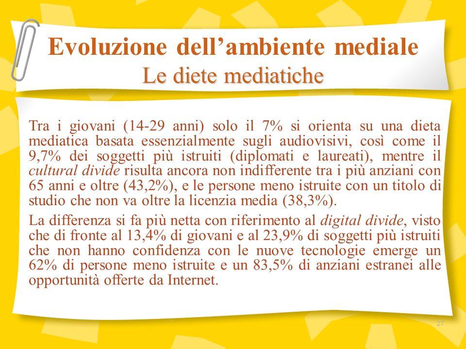 Tra i giovani (14-29 anni) solo il 7% si orienta su una dieta mediatica basata essenzialmente sugli audiovisivi, così come il 9,7% dei soggetti più i
