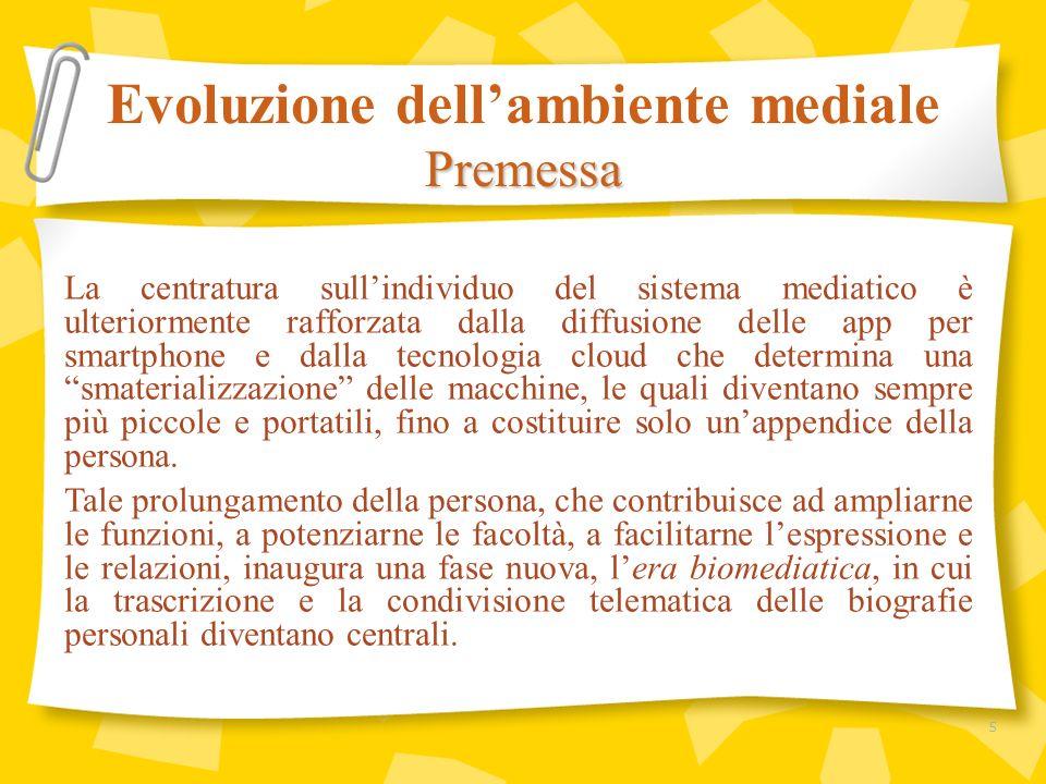Tali considerazioni preliminari introducono il 10° rapporto sulla comunicazione nel nostro Paese, pubblicato da CENSIS/UCSI nel 2012 con un titolo (I media siamo noi) che anticipa i risultati della ricerca sullevoluzione dei consumi mediali degli Italiani nellultimo decennio: I media siamo noi dal punto di vista della fruizione dei contenuti, che sintetizza correttamente levoluzione dei consumi mediatici, perché siamo noi stessi a costruirci i nostri palinsesti multimediali personali, tagliati su misura in base alle nostre esigenze e preferenze.