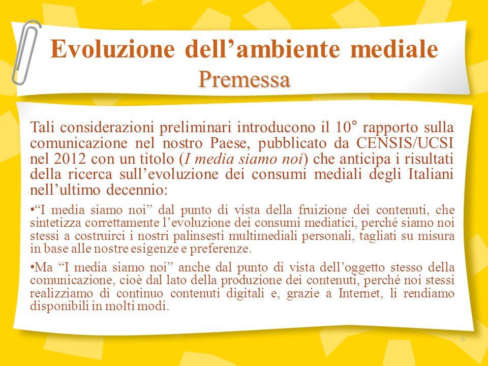 Evoluzione dellambiente mediale I consumi mediatici 17