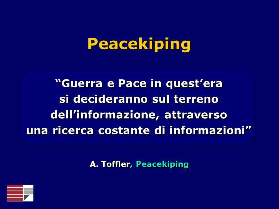 A. Toffler, Peacekiping Guerra e Pace in questera si decideranno sul terreno dellinformazione, attraverso una ricerca costante di informazioni Peaceki