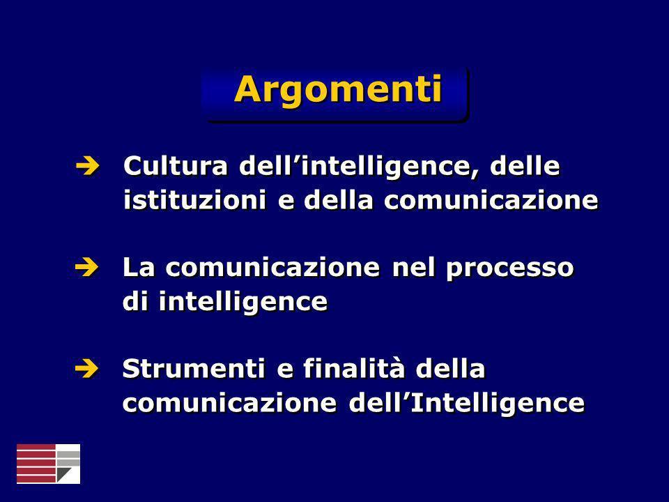 Argomenti Cultura dellintelligence, delle istituzioni e della comunicazione La comunicazione nel processo di intelligence Strumenti e finalità della c