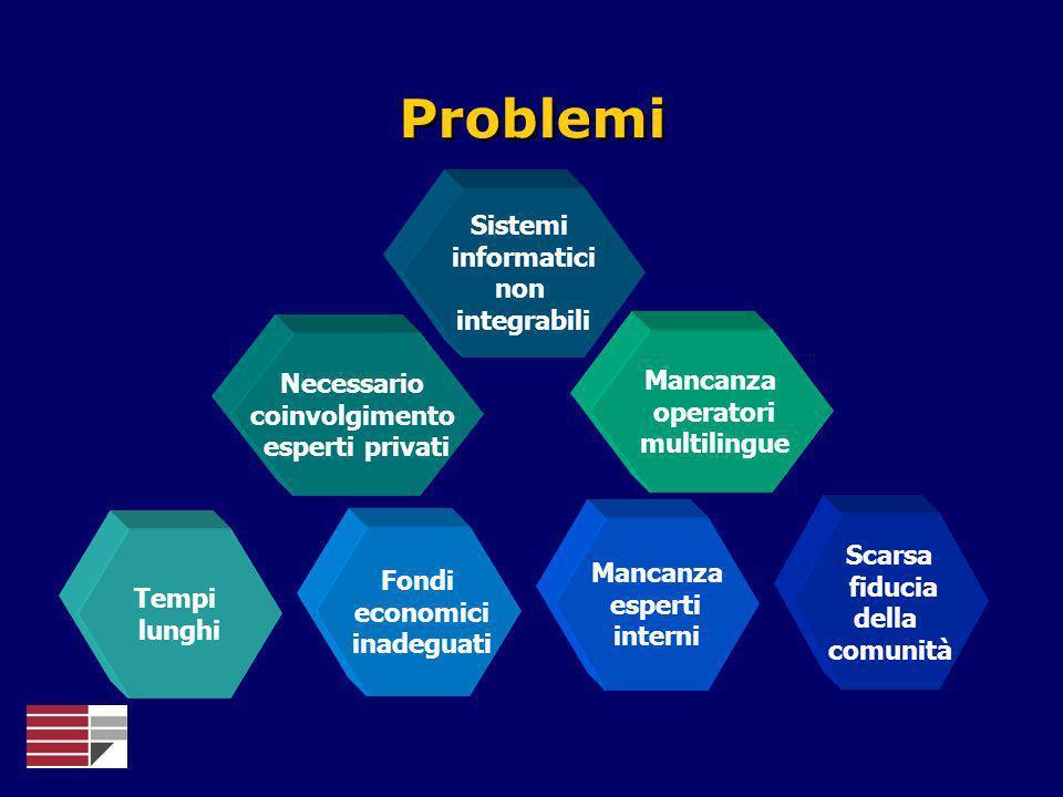 Problemi Scarsa fiducia della comunità Mancanza operatori multilingue Tempi lunghi Mancanza esperti interni Fondi economici inadeguati Sistemi informa