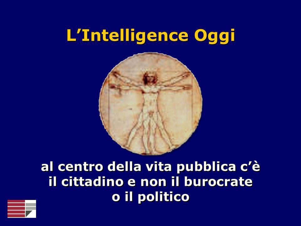 LIntelligence Oggi al centro della vita pubblica cè il cittadino e non il burocrate o il politico