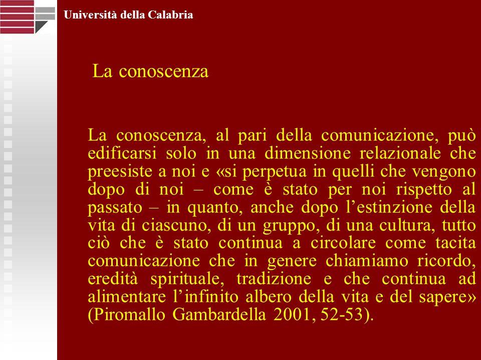 Università della Calabria La conoscenza La conoscenza, al pari della comunicazione, può edificarsi solo in una dimensione relazionale che preesiste a