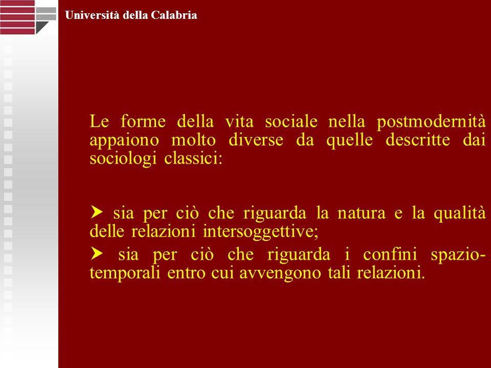 Università della Calabria Le forme della vita sociale nella postmodernità appaiono molto diverse da quelle descritte dai sociologi classici: sia per c
