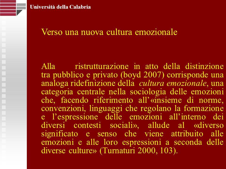 Università della Calabria Verso una nuova cultura emozionale Allaristrutturazione in atto della distinzione tra pubblico e privato (boyd 2007) corrisp