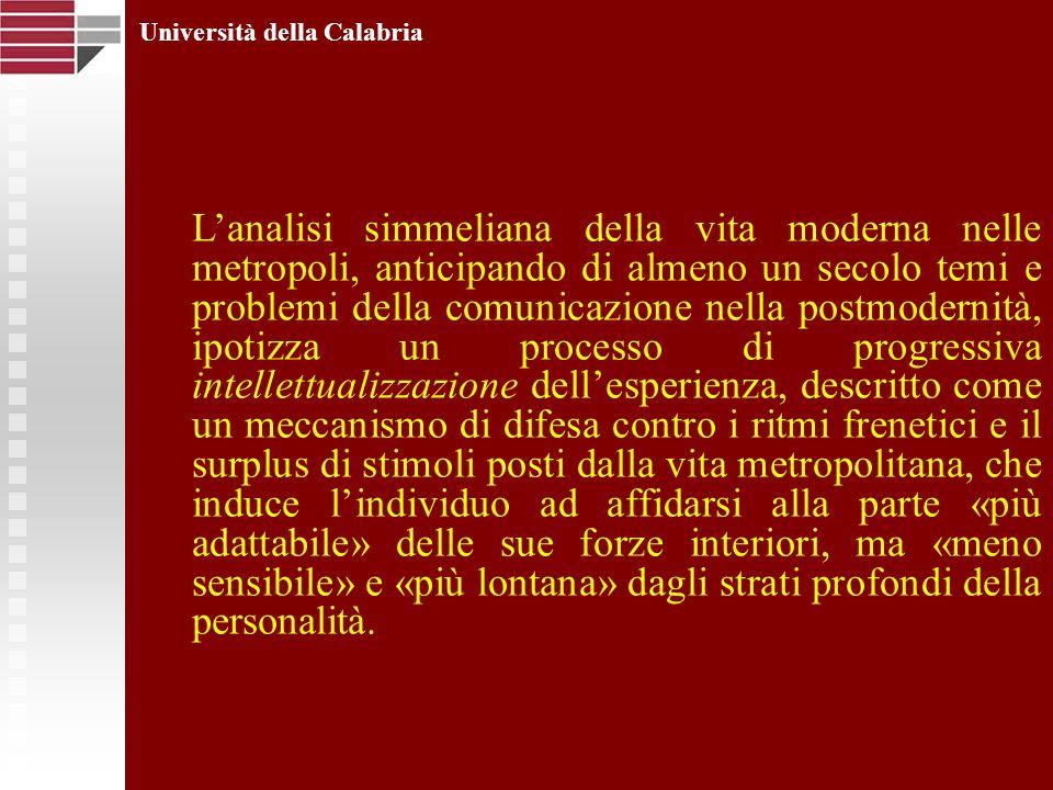 Università della Calabria Lanalisi simmeliana della vita moderna nelle metropoli, anticipando di almeno un secolo temi e problemi della comunicazione