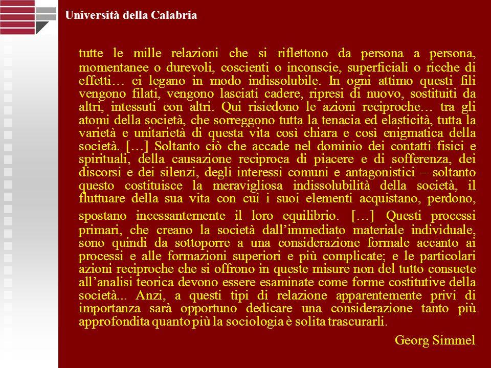 Università della Calabria tutte le mille relazioni che si riflettono da persona a persona, momentanee o durevoli, coscienti o inconscie, superficiali