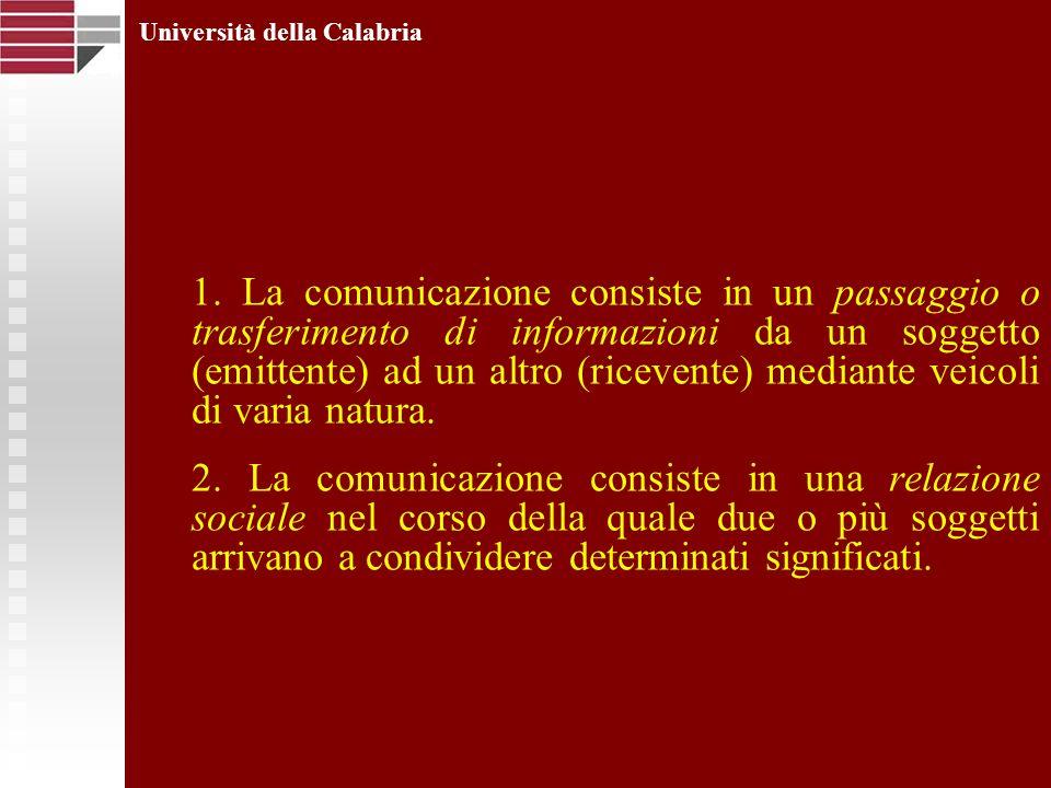 Università della Calabria 1. La comunicazione consiste in un passaggio o trasferimento di informazioni da un soggetto (emittente) ad un altro (riceven